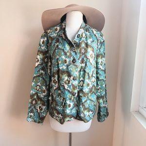 Charter Club Abstract Tribal Print Linen Jacket